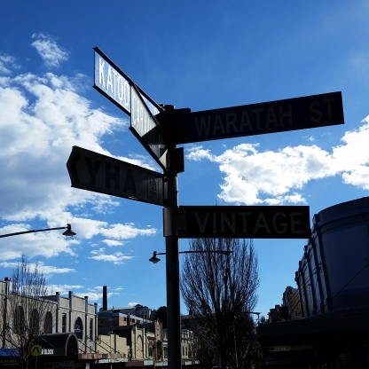 The signs on a street corner in Katoomba village