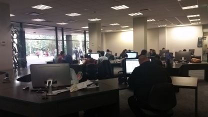 Students using computers in the library, UOW