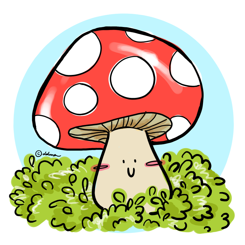 It's unrelated, but here's a content-looking mushroom. My little doodle when I was still so zealously whipping out my keyboard and typing out any shower thoughts into full-lenght blog posts.